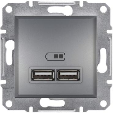 Розетка USB 2 1A ASFORA сталь