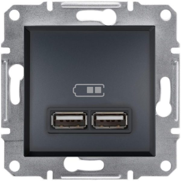 Розетка USB 2 1A ASFORA антрацит