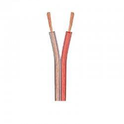Кабель акуст. 2х0,34мм.кв (CCA) OD-2,5х5,0мм, прозр.черв.чорн. 100м