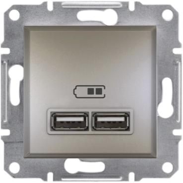 Розетка USB 2 1A ASFORA бронза