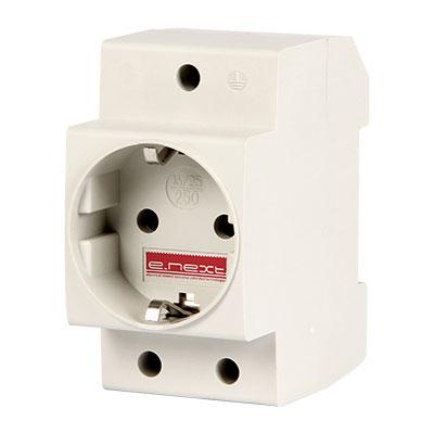 Розетка з/з на DIN рейку e.socket.pro.din.tms, 230 В