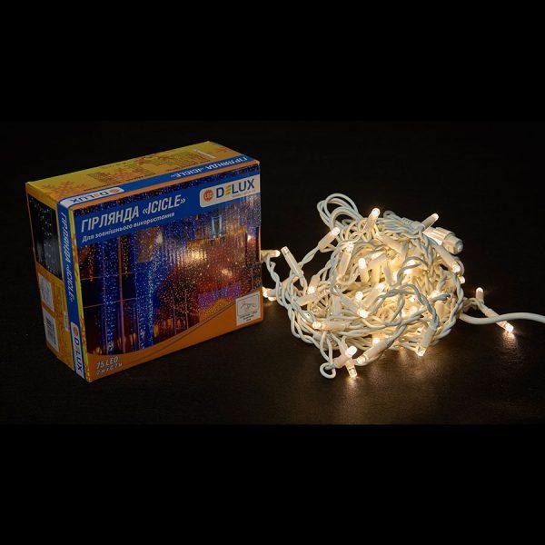 Гірл.зовн.ICICLE 75LED 2×0,7m (57Led+18Led flash)тепл.біл flash тепл.біл/біл IP44 Delux NEW