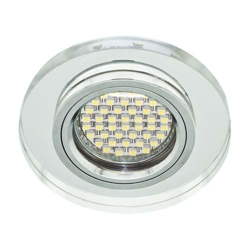 Св-к.точк.Ферон 8060-2 MR-16 срібло/срібло+LED підсвітка 6500К