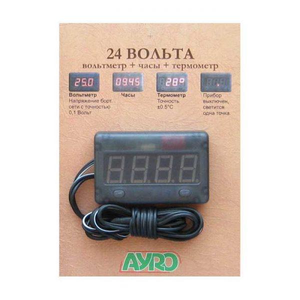 24V Вольтметр + годинник + термометр