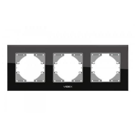 Рамка чорне скло 3-а горизонтальна (VF-BNFRG3H-B)