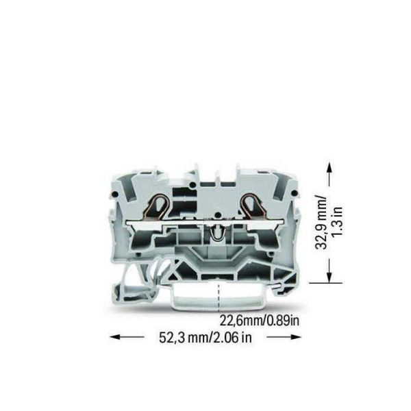 Клемн.наб.прох. 2к*0,5-4(6)мм.кв 32А(41А) на DIN-рейку сірий WAGO