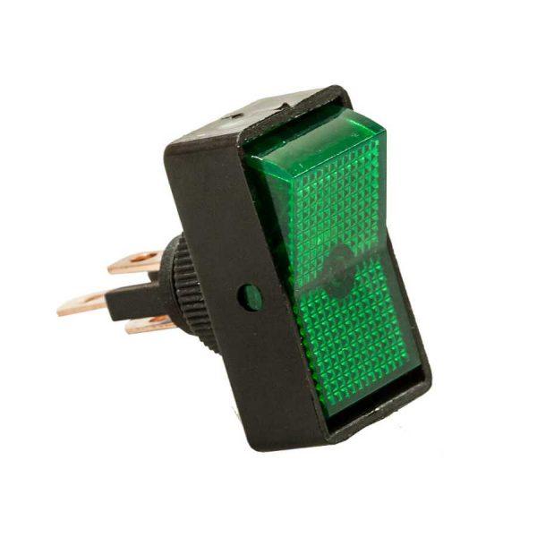Перемикач с підсв.12V, 20А, зелений ASW-11D ON-OFF, 3pin,