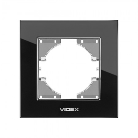Рамка чорне скло 1-а горизонтальна (VF-BNFRG1H-B) (12/144)