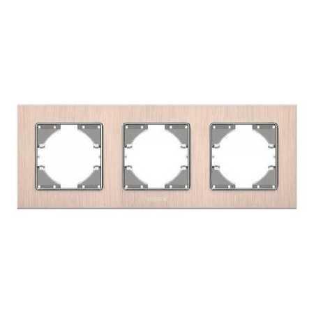 Рамка мідний алюміній 3-а горизонтальна (VF-BNFRA3H-CP)