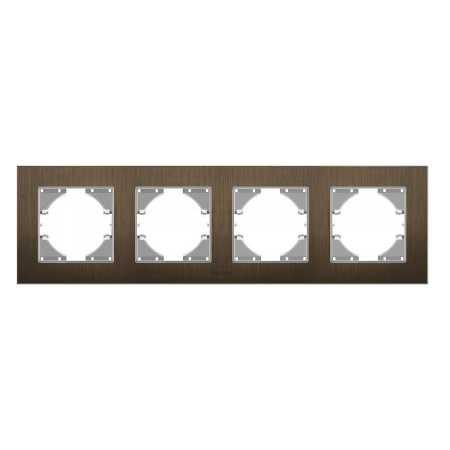 Рамка шокол. алюміній 4-а горизонтальна (VF-BNFRA4H-CH)