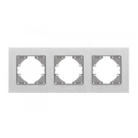 Рамка срібний алюміній 3-а горизонтальна (VF-BNFRA3H-SL)
