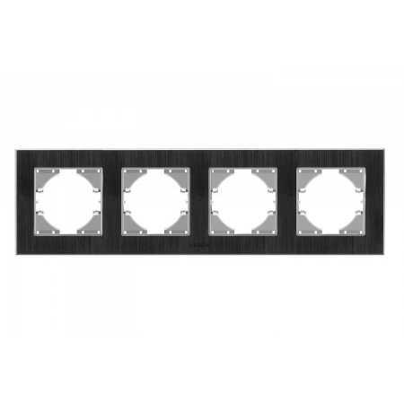 Рамка чорний алюміній 4-а горизонтальна (VF-BNFRA4H-B)