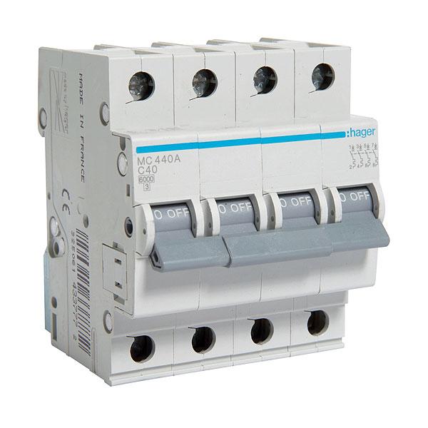 Автомат 4п.(3+N) 40А типC. 6кА TM Hager 4-DIN