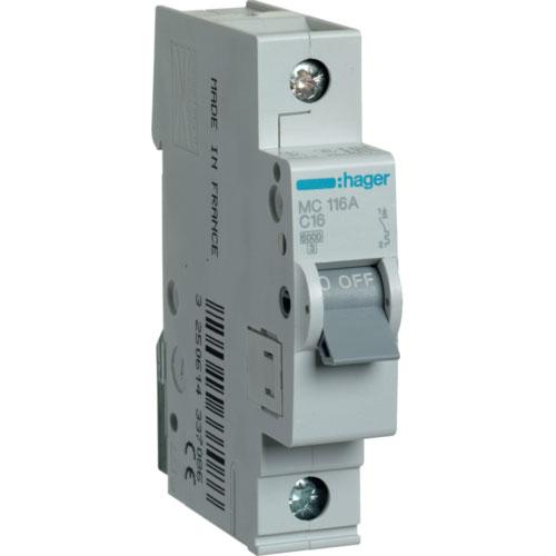 Автомат 1п.16 А типC. 6кА TM Hager 1-DIN