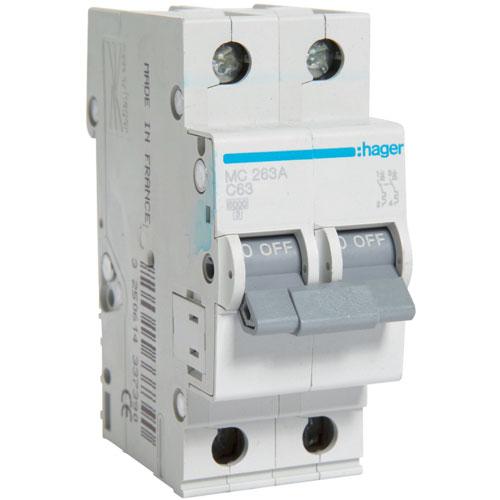 Автомат 2п. 63А типC. 6кА TM Hager 2-DIN