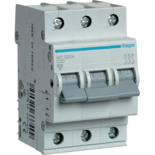 Автомат 3п. 20А типC. 6кА TM Hager 3-DIN