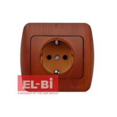 Розетка EL-Bi Alsu 1-а з/з накл. вишня