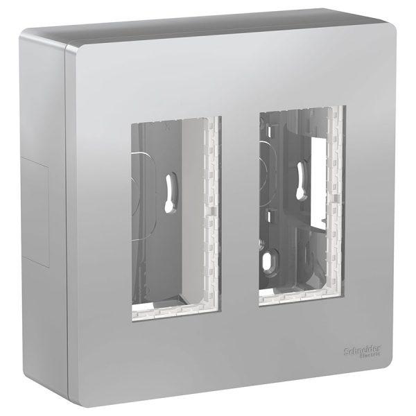 Блок відкритого монтажу Unica System+ 2х2 алюміній