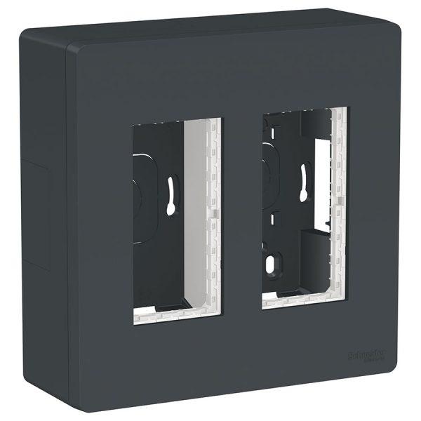 Блок відкритого монтажу Unica System+ 2х2 антрацит