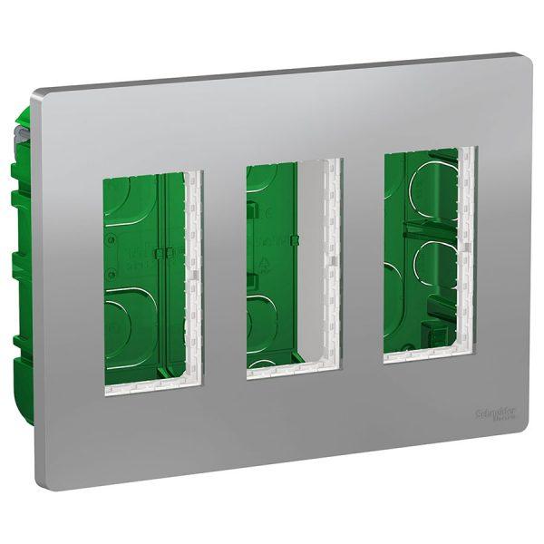 Блок прихованого монтажу Unica System+ 3х2 алюміній