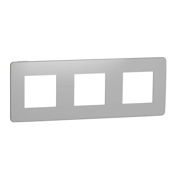 Рамка Unica Studio Metal 3-на хром/біла