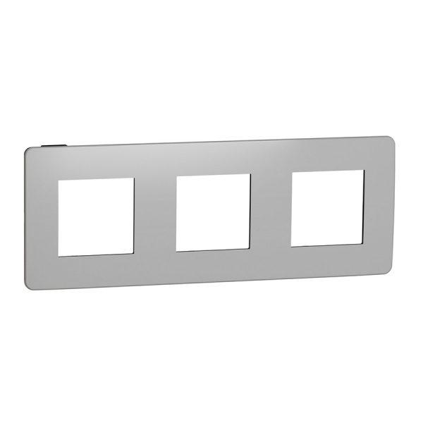 Рамка Unica Studio Metal 3-на хром/антрацит