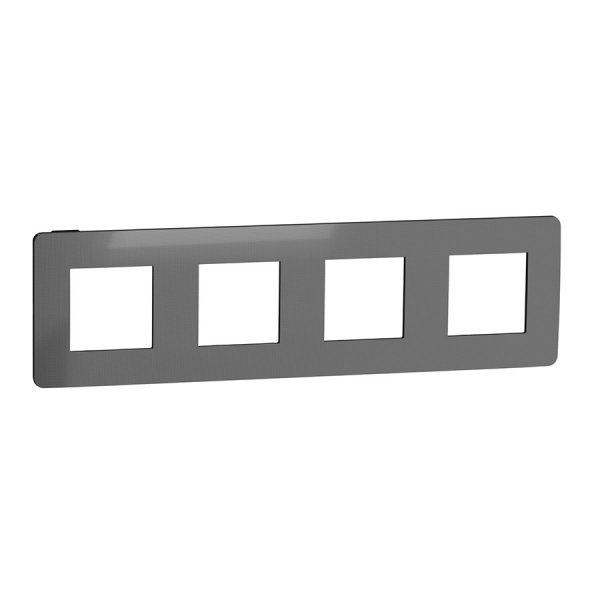Рамка Unica Studio Metal 4-на нікель/антрацит