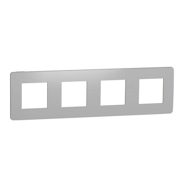 Рамка Unica Studio Metal 4-на хром/біла