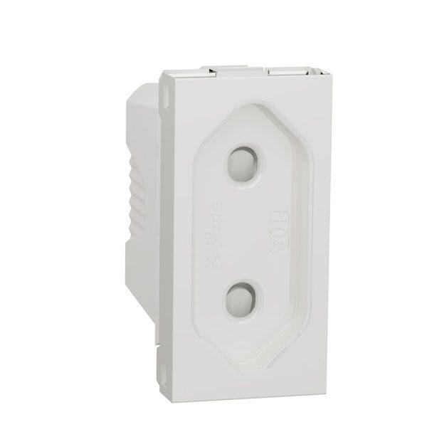 Розетка Unica New 1-на плоска без з/з зі шторками 1 модуль біла