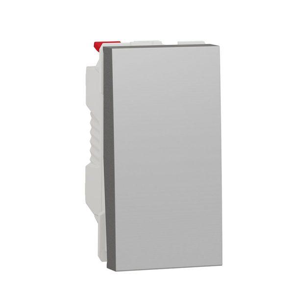 Вимикач Unica New 1-клавішний схема 1, 10 А, 1 модуль алюміній