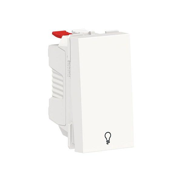 """Вимикач Unica New 1-клавішний кнопковий з символом """"Світло"""", 10 А, 1 модуль білий"""