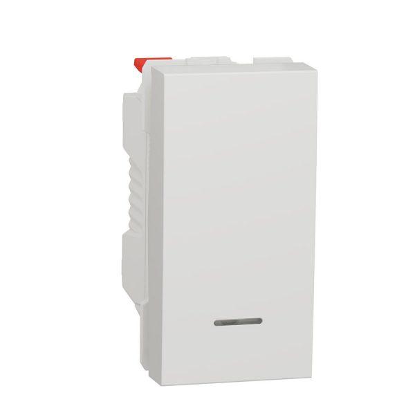 Вимикач Unica New 1-клавішний кнопковий з підсвіткою сх. 1а, 10 А, 1 модуль білий