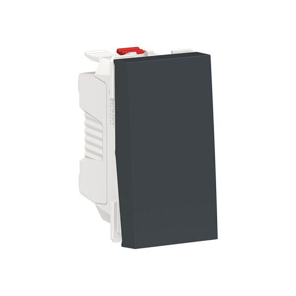 Вимикач Unica New 1-клавішний кнопковий схема 1, 10 А, 1 модуль антрацит