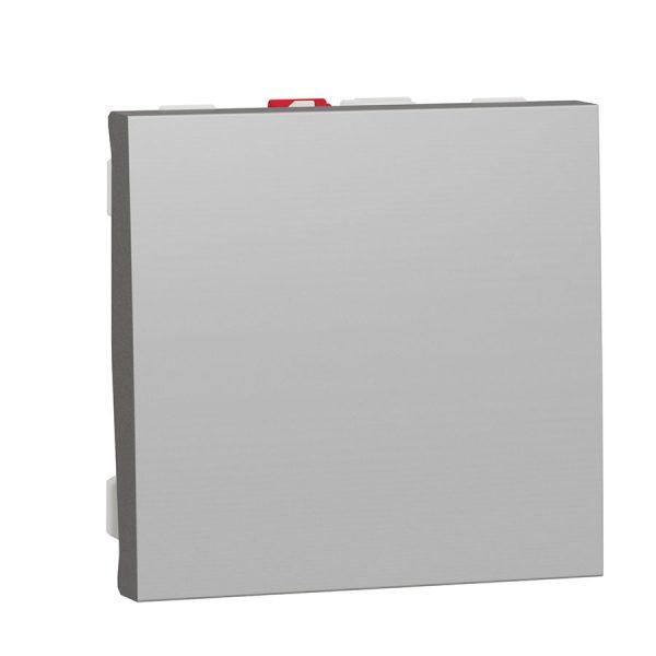 Вимикач Unica New 1-клавішний схема 1, 10 А, 2 модуля алюміній