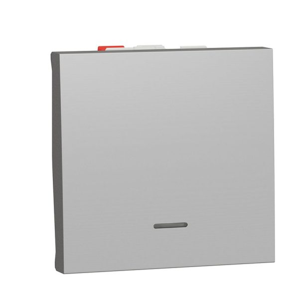 Перемикач Unica New, 1-клавішний з нейтраллю, 10 А, 2 модуля алюміній