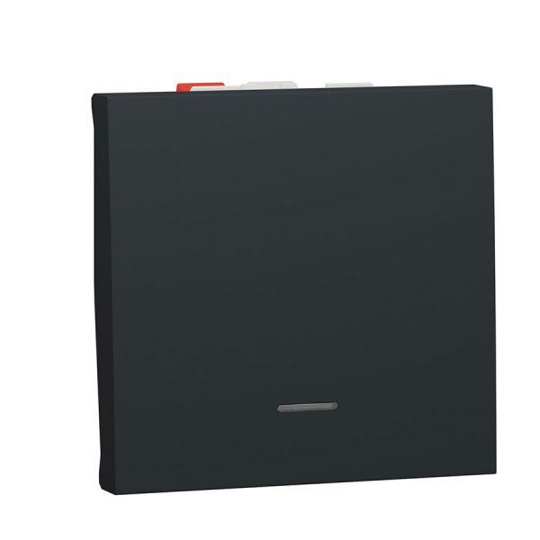 Перемикач Unica New, 1-клавішний з нейтраллю, 10 А, 2 модуля антрацит