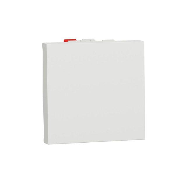 Вимикач Unica New 1-клавішний кнопковий схема 1, 10 А, 2 модуля білий
