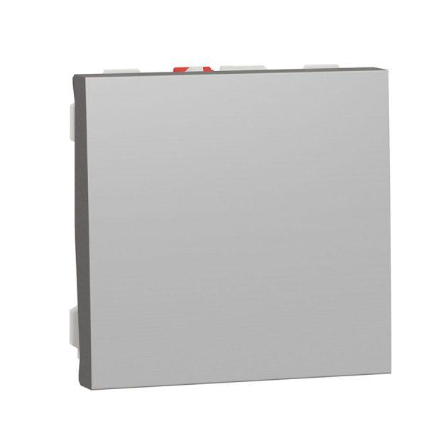 Вимикач Unica New 1-клавішний кнопковий схема 1, 10 А, 2 модуля алюміній