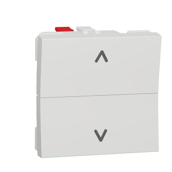 Вимикач Unica New для жалюзі 2-клавішний кнопковий схема 4, 6А 2 модуля білий
