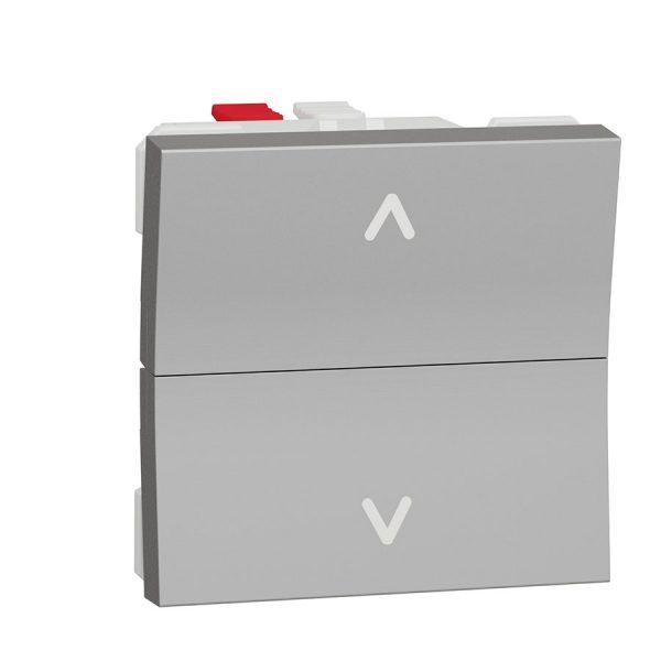 Вимикач Unica New для жалюзі 2-клавішний кнопковий схема 4, 6А 2 модуля алюміній