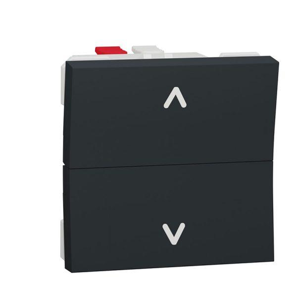 Вимикач Unica New для жалюзі 2-клавішний кнопковий схема 4, 6А 2 модуля антрацит