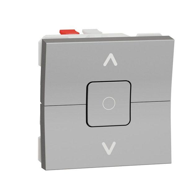 Вимикач Unica New для жалюзі 2-клавішний схема 4, 6А 2 модуля алюміній