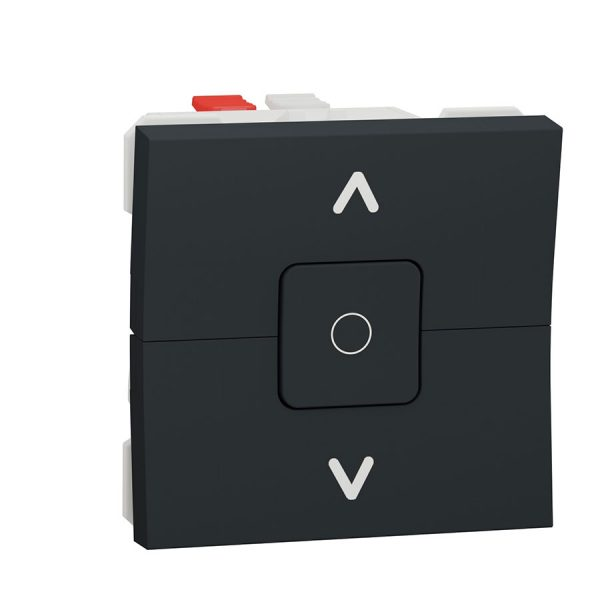 Вимикач Unica New для жалюзі 2-клавішний схема 4, 6А 2 модуля антрацит