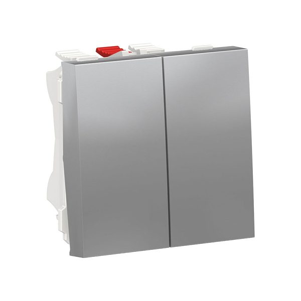 Перемикач Unica New, 2-клавішний схема 6, 10 А, 2 модуля алюміній