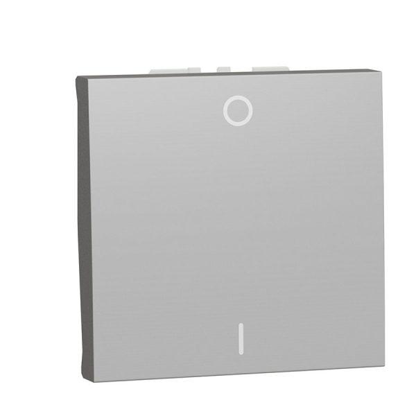 Двополюсний вимикач 16 А 2 модуля Unica New алюміній