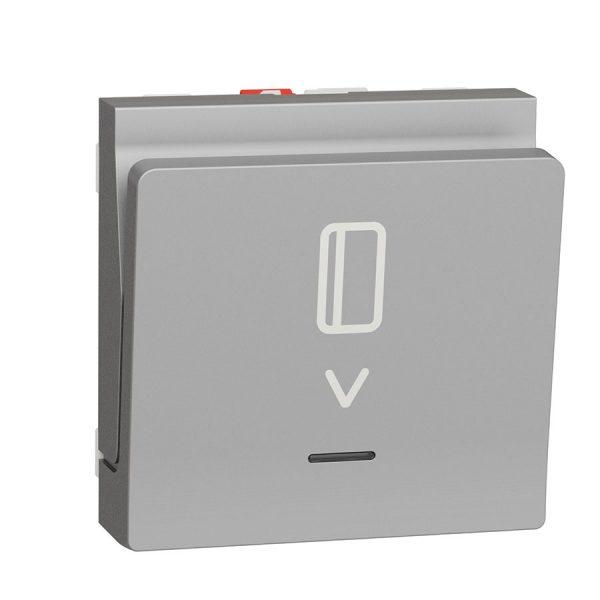 Вимикач Unica New картковий з підсвіткою 10 А, 2 модуля алюміній