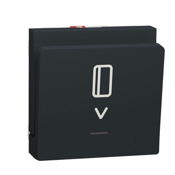 Вимикач Unica New картковий з підсвіткою 10 А, 2 модуля антрацит