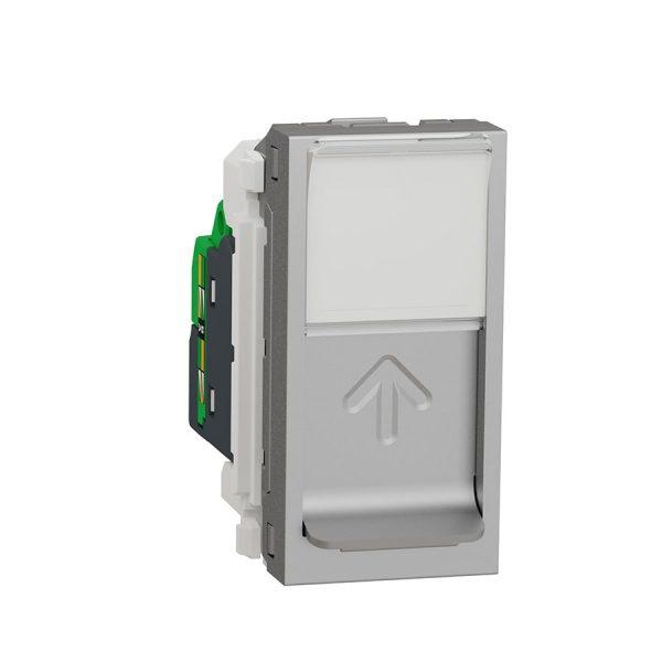Розетка Unica New комп'ютерна RJ45 кат.6 UTP 1 модуль алюміній