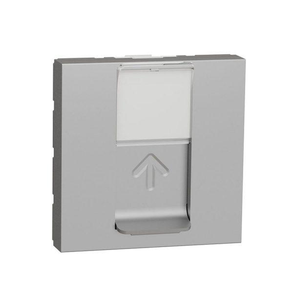 Розетка Unica New комп'ютерна RJ45 кат.6 UTP 2 модуля алюміній