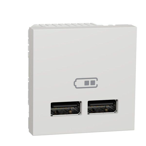 Розетка Unica New USB подвійна 2,1 А біла